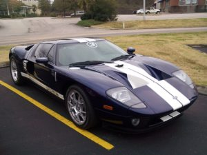 a Ford GT with vinyl racing stripes